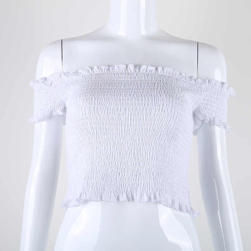 3c3c8064a40 ... 2017 summer casual Fashion cloth Chic off shoulder white crop top ruffle  sexy t shirt women ...