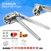 Free Chipping ZONESUN New Manual Vial Crimper Stainless Steel Flip Off Caps Hand Sealing Machine Silver