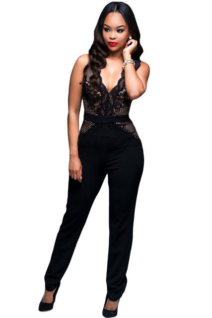 2017 Elegante Macacão Mulheres Bodycon Jumpsuit Nu Acento Do Laço Macacão macacão feminino Combinaison LC64082 Pantalon Femme