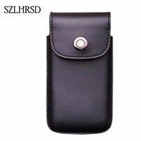 SZLHRSD Hombres Clip de Cinturón Bolsa De Cuero Genuino Bolso de La Cintura Cubierta Del Teléfono para Doogee S50 5.7 pulgadas Casos Celular Negro Accesorio