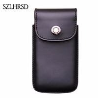 SZLHRSD Men Belt Clip Genuine Leather Pouch Waist Bag Phone Cover for Doogee S50 5.7inch Cases Black Cell Accessory