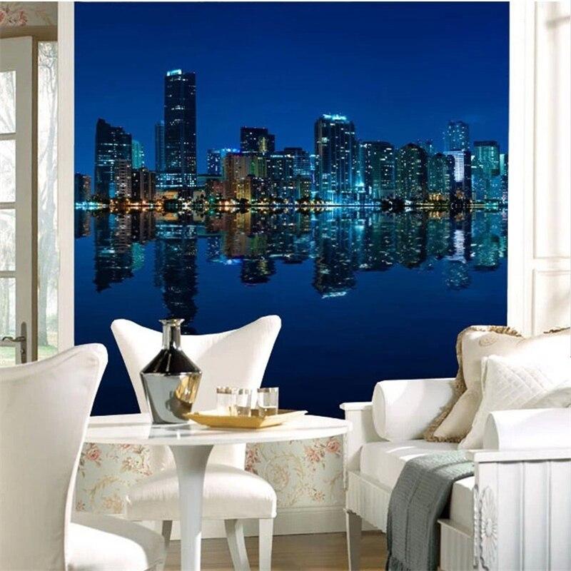 beibehang Manhattan 3d papel de paede TV living room sofa photo Wallpaper for walls city night 3d mural wall paper contact paper
