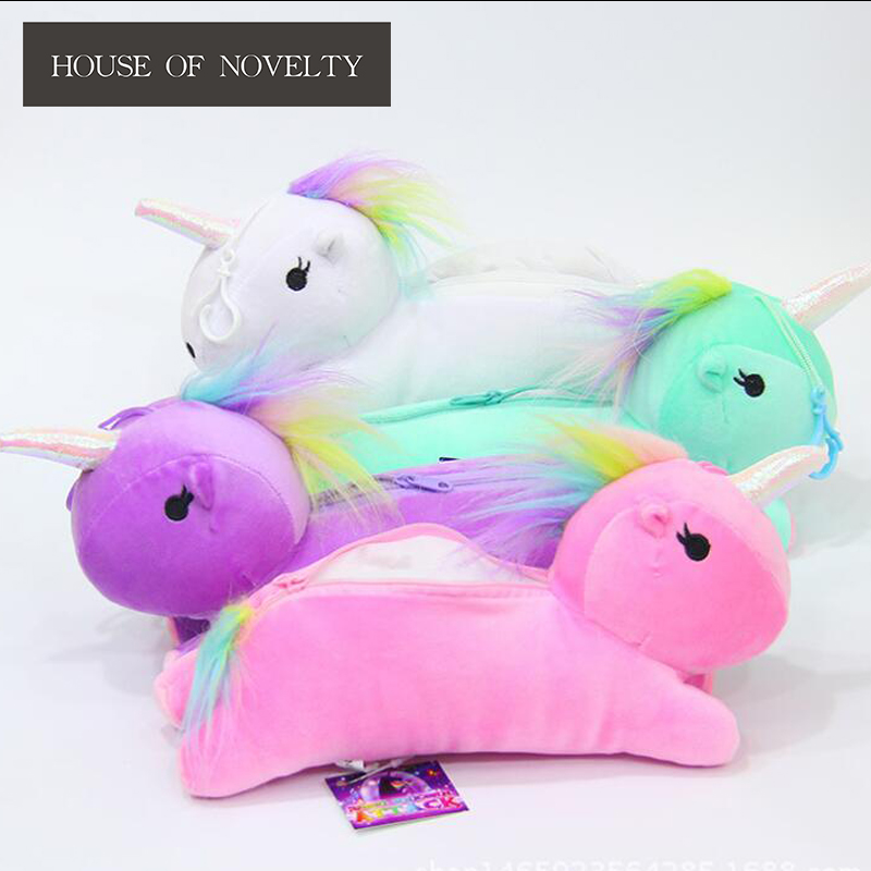 Colorful Unicorn Pencil Plush Case Stationery Storage Organizer Bag School Office Supply Escolar цена 2017
