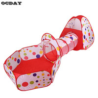 3 In 1 Kids Children Indoor Outdoor Play Tent Tunnel Ocean Ball Pit Baby Toy Tent Foldable Kids Crawling Pipeline Play House