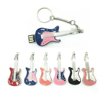 HotUSB Flash Drive Guitar Shape Memory Stick 8GB 16GB 32GB  USB Flash Disk Lovely Music Notation Pen Drive + Key Chain
