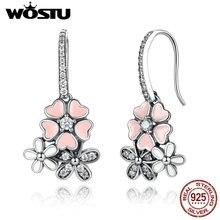 Alta Calidad 925 joyas de Plata Poética Margarita Cherry Blossom Pendientes de Gota Para Mujeres Joyería Compatible con el Original de Lujo