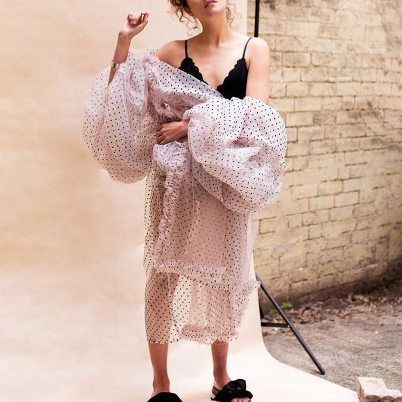 Long Da Grande Twotwinstyle Dolce Estate Dress Lanterna Rappezzatura Del Della Dress Femminile Spiaggia Vestiti Lungo Modo Dot Vestito Manicotto Increspature Tasca Di Donne Delle Maglia short OnfwBqOa
