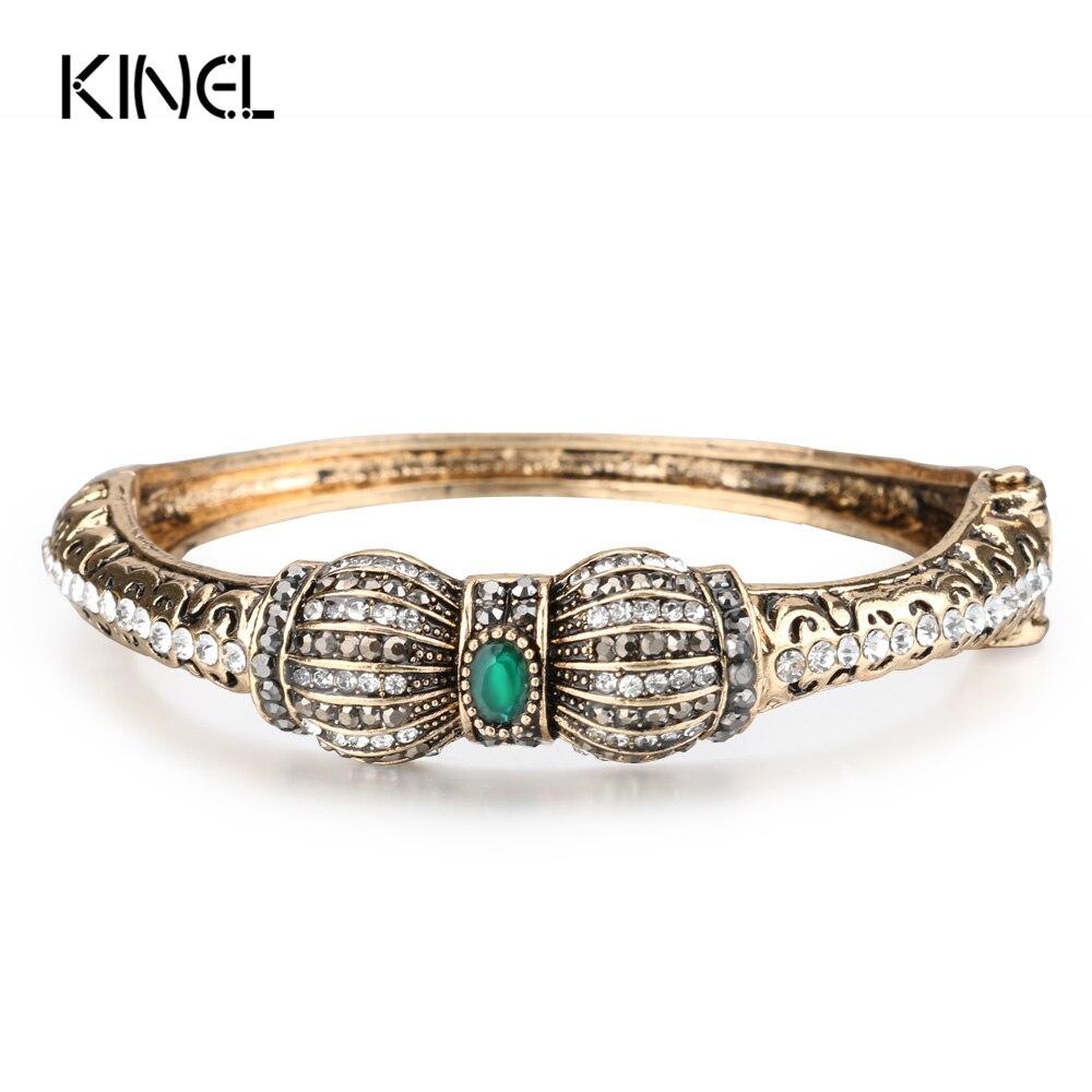 Kinel Vintage Green Crystal Flower Bangles Resin Bracelets Pulseiras Feminino Turkish Bracelet Bijouterie Hand Jewelry