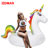 DMAR 140cm Inflatable Pool float Giant Unicorn Swimming Circle for Adults Ring Zwembad Diving Toys Mattress Lifebuoy Flamingo