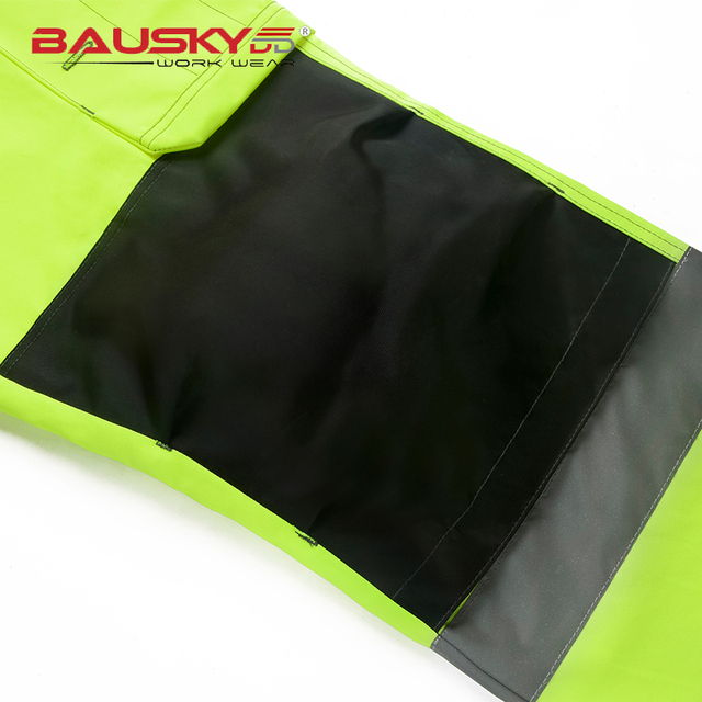 Reflective Men Working Pants High visibility Fluorescent Yellow Multi-pockets Work Trousers With Knee Pads Workwear Cargo Pants 2