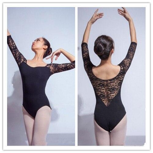 Costume élégant adulte ballet danse vêtements demi manches dentelle justaucorps combinaison justaucorps danse Camisole - 4