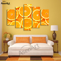 5 Panel Wall Art Orange Paintings Fruit Picture to Print on Canvas Painting for Living Room Modern Home Decor Unframed