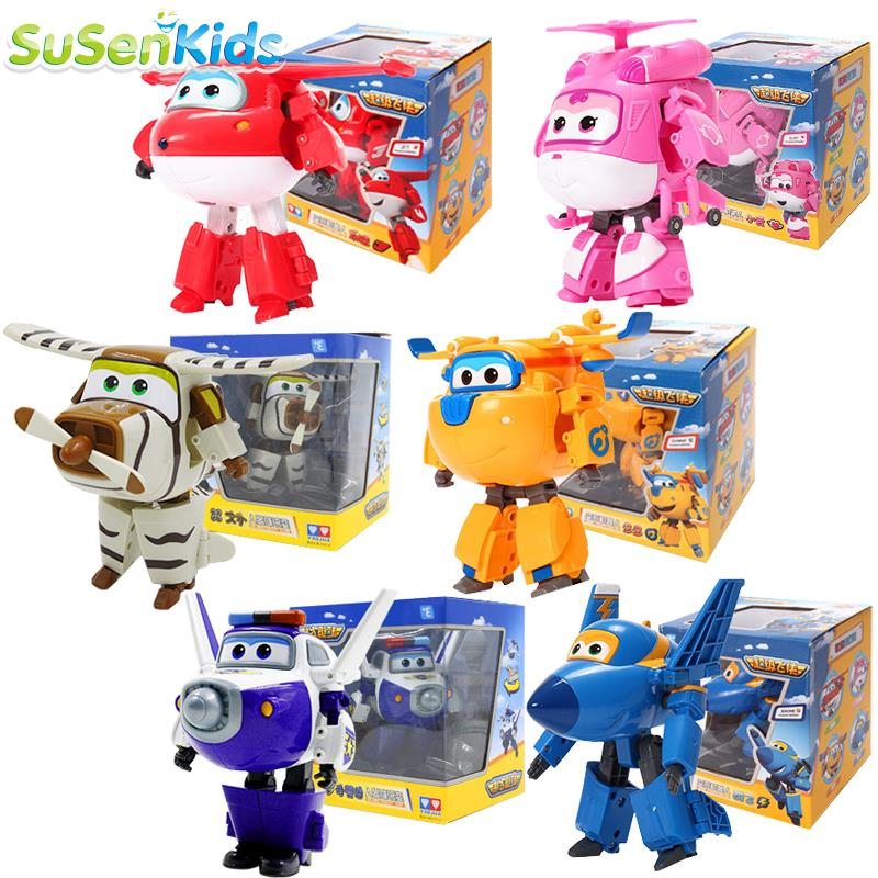 SuSenGo Super Big 15 cm ABS Super Wings Deformation Airplane Robot Action Figures Transformation toys for children kid gift high quality new 13 for kia sorento 2013 2014 2015 abs chrome front under center grill grille cover trim hj