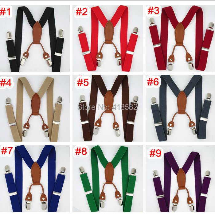 BD027-- free shipping 2.5*65cm 4 clips-on Leather Suspenders for baby 12 colors adjustable elastic braces Kids Accessories