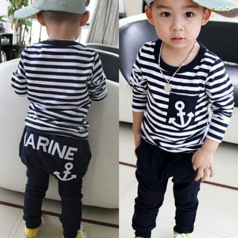 Toddler Kids Baby Boys Clothes T-shirt Tops + Pants 2PCS Set Autumn boys long-sleeved navy style striped boys clothing set 2-7T toddler kids baby boys clothing sets t shirt tops long sleeve striped anchor long pants trousers outfits clothes set 2pcs