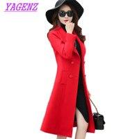 Autumn Winter Woolen Jacket Women Korean Slim Long Wool Coat High quality Fashion Women Solid color Double breasted Overcoat 397