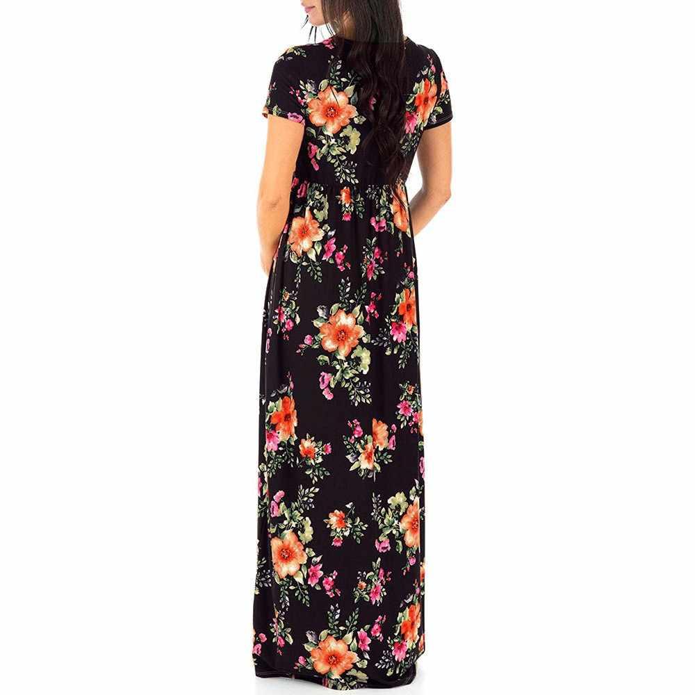 2 Цвета для грудного вскармливания летние платья Цветочный принт для беременных кормящих Макси платье Модная одежда для беременных Для женщин