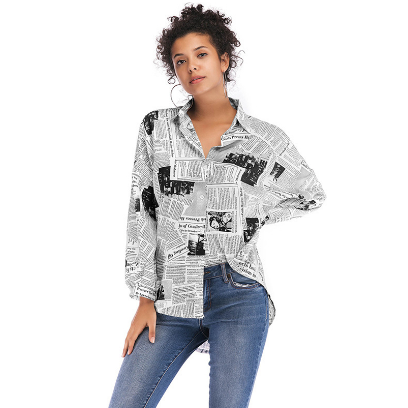 Women's Newspaper shirt Women's Long Sleeve Shirt Top for women shirt DS-TE-ywzmyh