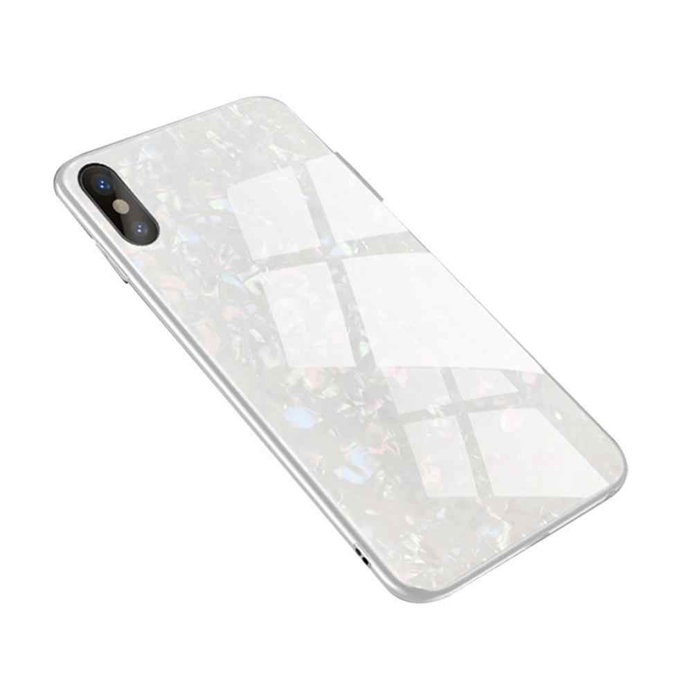 None For OnePlus 6/6T Shell Pattern Toughened Glass Back Case Shockproof Protection Phone Cover