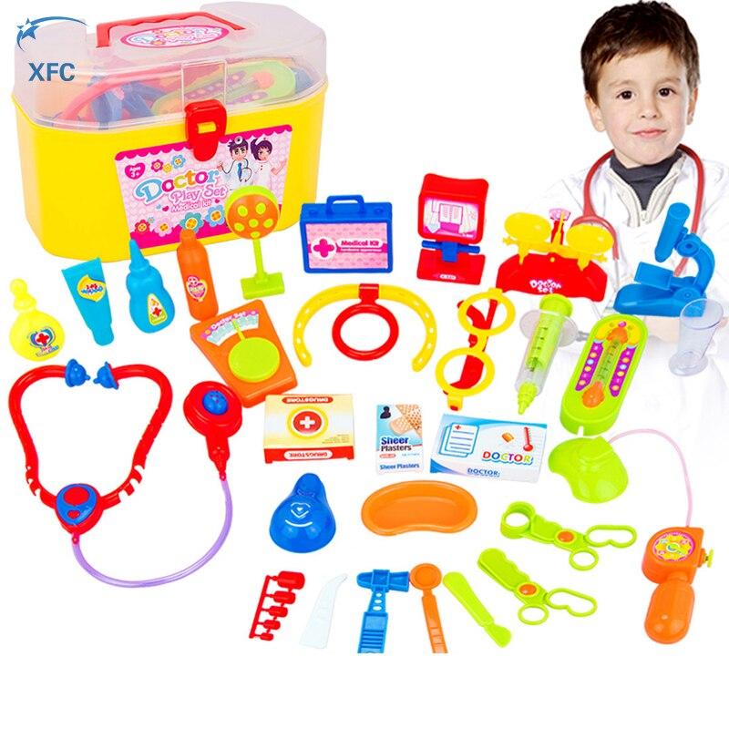 30pcs XFC Kids Doctor Nurses Medical Junior Set Toy Simulation Medicine Box Role Play Kit Learning Toy Xmas Christmas Gift