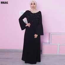 fe32acbe66 Stany zjednoczone bliski wschód muzułmańskie kobiety moda O-Neck róg z  długim rękawem na co dzień luźny koralik długa sukienka R..