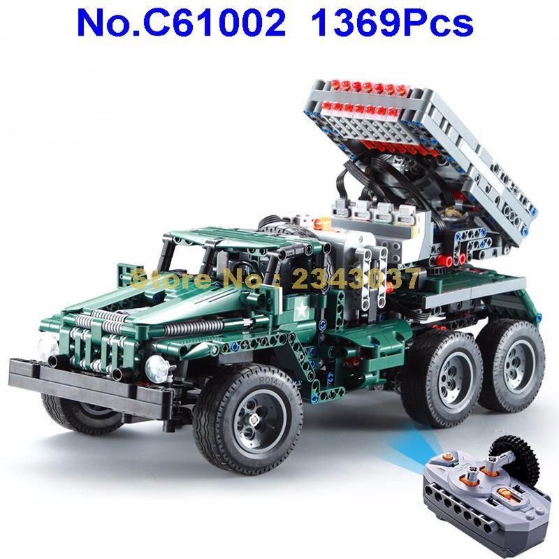 C61002 1369pcs 기술 군사 원격 제어 rc bm 21 자체 로딩 전투 미사일 차량 빌딩 블록 장난감을 시작할 수 있습니다-에서블록부터 완구 & 취미 의  그룹 1