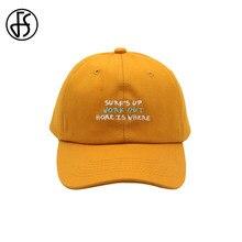 9eebd9568734d FS Fashion Korean Hat Hip Hop Women Men Baseball Cap Outdoor Tactical Dad  Hats Cotton Letter Embroidery Yellow Black Face Caps