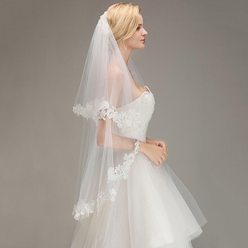 249664581 Veu De Noiva capa uno blanco marfil Cut velo De boda con peine 30. Velo de  novia de encaje ...