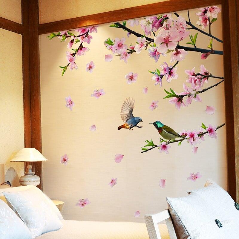 [SHIJUEHEZI] Peach Blossom Branche D'arbre Stickers Muraux Vinyle DIY Fleurs Oiseaux Mur Décor pour le Salon De Mariage Décoration