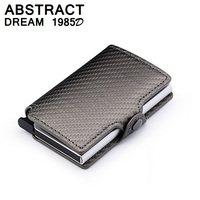RFID Wallet men's Carbon Fiber Leather Credit Card Holder Automatic Aluminum Business travel Wallet High grade Slim Case Purse