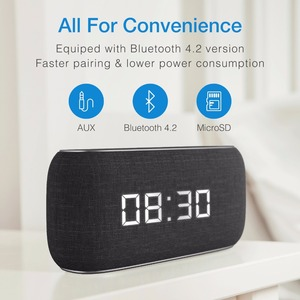 Image 4 - HAVIT Bluetooth Speaker Portable Home Loudspeaker with Digital Alarm Clock 3D Stereo Enhanced Bass Speaker Support FM Radio M29