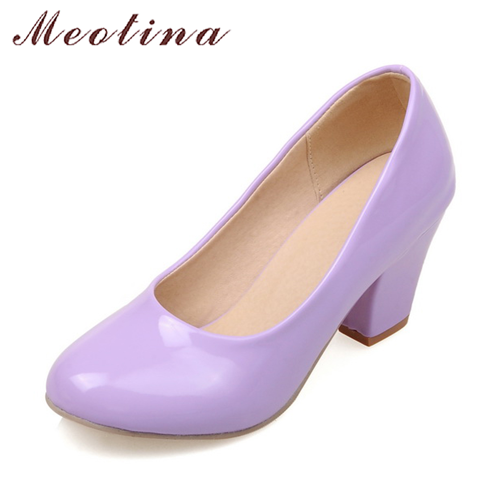 Meotina Thick High Heels Shoes Women Party Shoes Spring Pumps Round Toe PU Patent Leather Shoes Purple Yellow Big Size 10 42 43 queen style 22cm super high thick soles round toe metal heels big yards 8 5 15 5