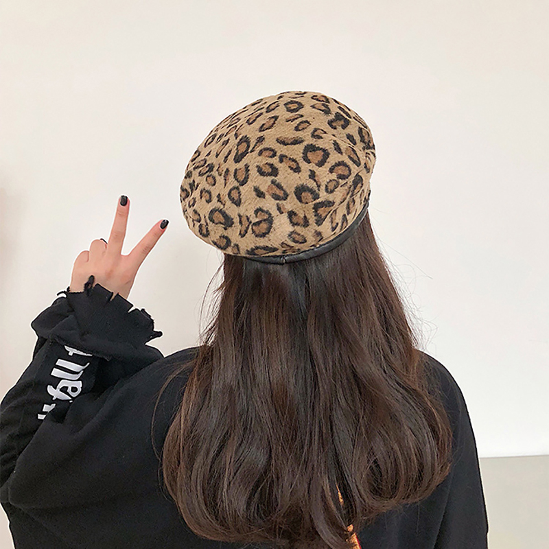Hat Caps Beret Chapeau Leopard Elegant Retro Winter Women's Ladies Woolen Autumn Femme