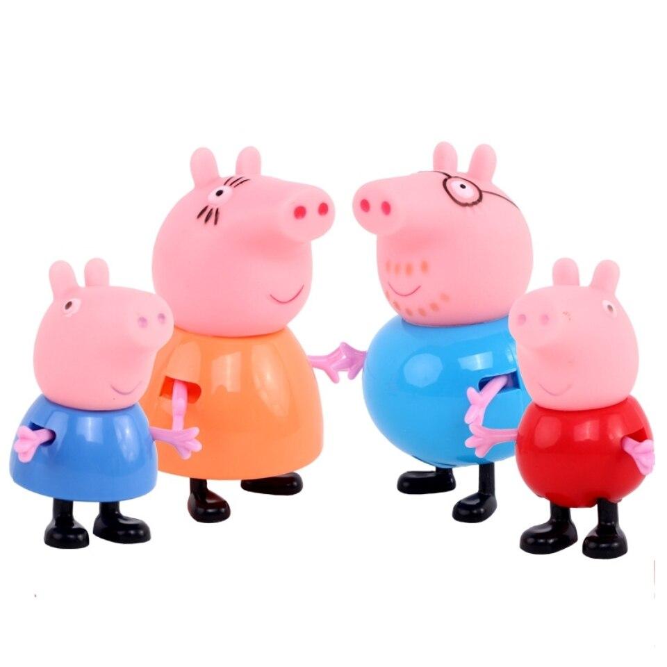 4pcs Hot Cartoon Pink Pig Family Dad Mom Figure Kids Child Lovely Animal font b Toys