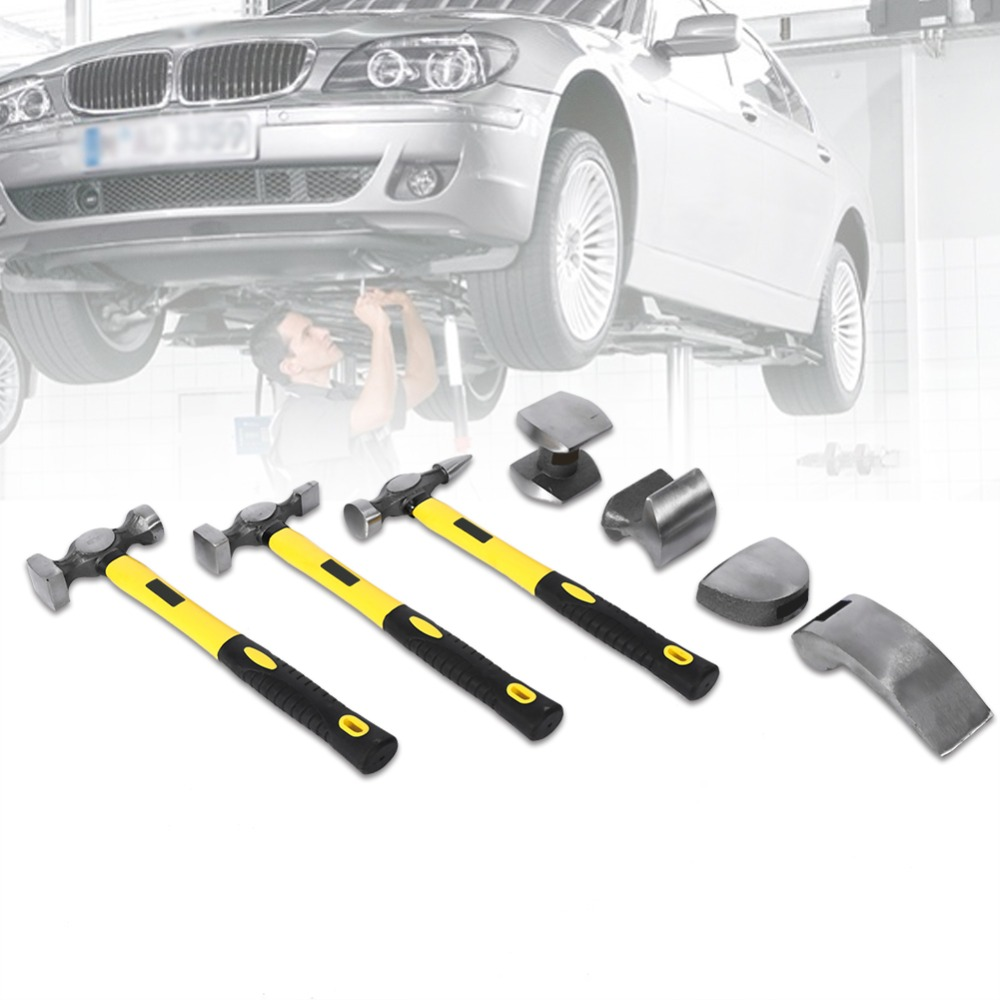7 Pcs Panel Beating Hammers Car Auto Body Panel Repair Tool Kit Handles Beating Hammers Heel Dolly Car Repairing Tools 50% OFF Tools