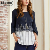 SBetro Stripe Blouse Shirts Female Knit Embroidered Woven Hem 3/4 Sleeve Ladies Tunic Tops Casual Women Blouses
