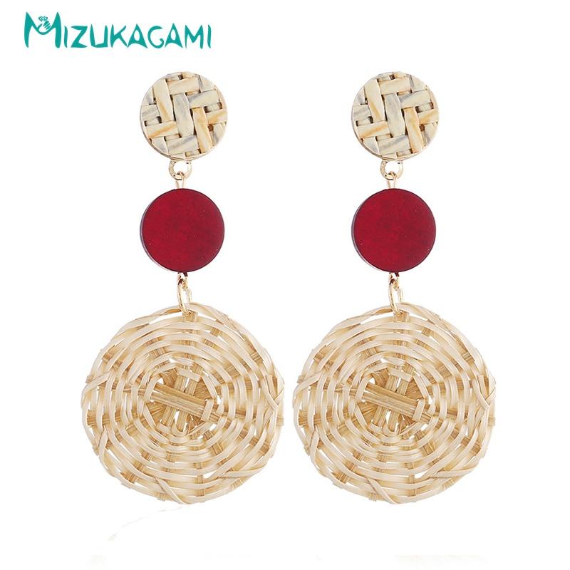 Rattan Earrings Handmade Love Heart Dangle Earrings For Women PU Leather Weave Rattan Dangle Earrings Female Fashion 12.