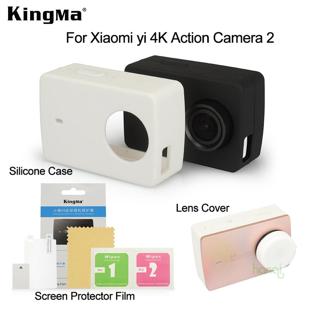 New KingMa For Xiaomi Yi 4k Screen Protector Film Xiaomi Yi 4K II Silicone Case Lens