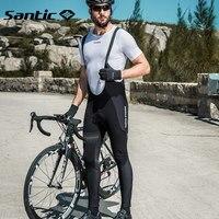 Santic Велоспорт нагрудник брюки мужские зимние теплые флисовые 4D Pad горный велосипед нагрудник длинные брюки Мотокросс горные спортивные брю