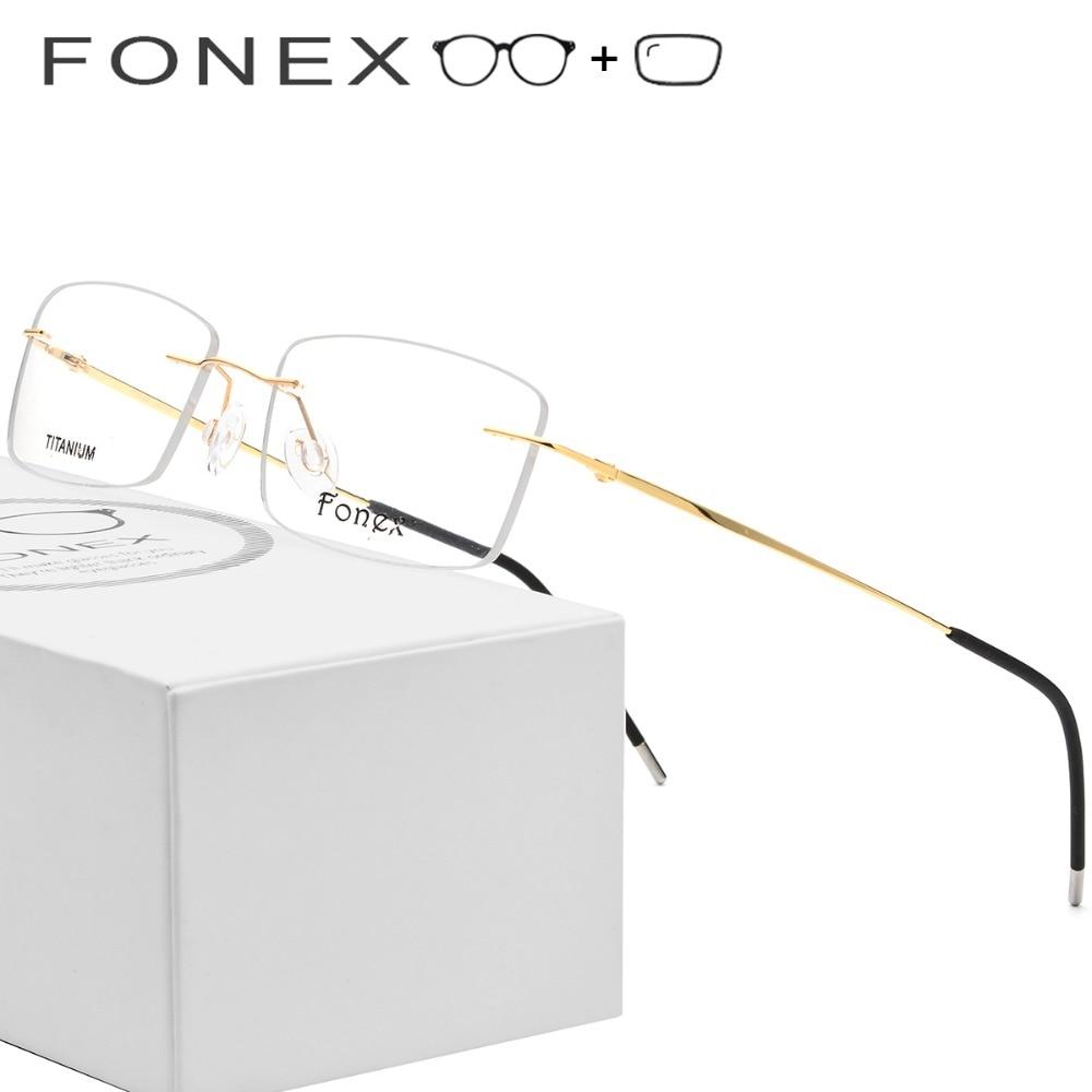 17ae3575f88 Rimless Titanium Alloy Prescription Glasses Men Square Frameless Myopia  Optical Frame Eyewear Women Prescription Eyeglasses