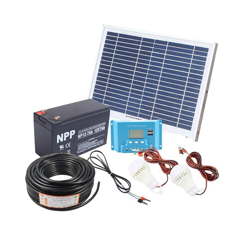 10w casa sistema solar 18v cabo do painel solar com controlador solar kit diy