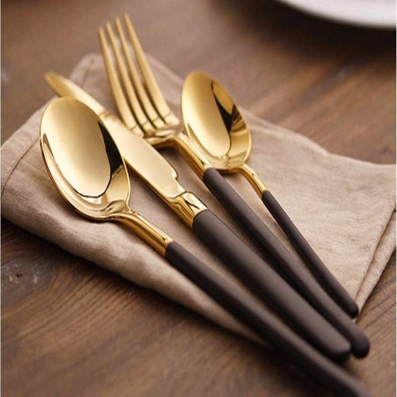 Elegant Cutlery Steak Knife Soup Scoop Tableware Black Gold Series Stainless Steel Luxury Western Flatware Dinnerware Set 4pcs