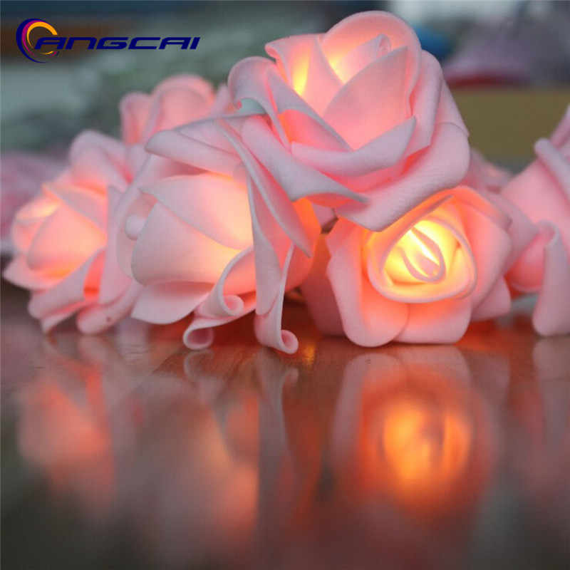 Battery powered pink Rose LED String Lights,Wedding Decoration luminaria christmas natal garland Guirlande Lumineuse  7cm flower