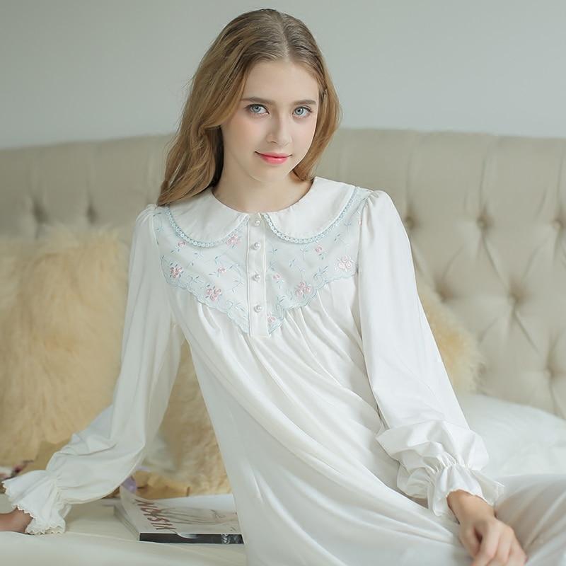 Nightdress royal robe long women39s sleepwear white for Robe chemise longue femme