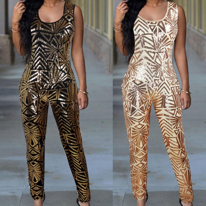 8d3bcde6647 women gold sequin jumpsuit Women sexy bodysuit celebrity catsuit playsuit-in  Jumpsuits from Women s Clothing   Accessories