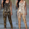 women gold sequin jumpsuit Women sexy bodysuit celebrity catsuit playsuit