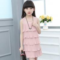 2018 New Girls Cake Cascading Dress Summer Sleeveless Vest Children S Clothing Evening Dresses Kids Clothes