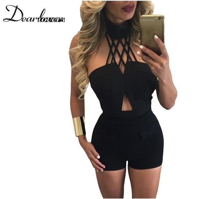 Dear lover Gargantilla Negro Camisa corta y Cintura Alta Short Set las mujeres de Dos Piezas Establece 2017 Conjunto Feminino Corto E Blusa LC62026