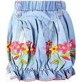 Patrón de la muchacha de Flores Brote Drapeado Mini Faldas de los niños Encima de la rodilla pantalones vaqueros cortos de Mezclilla faldas con dobladillo elástico LL-1526B