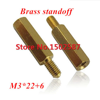 100 Pieces <font><b>M3</b></font>*22+6 Brass Hex Standoff Spacer <font><b>M3</b></font> Male x <font><b>M3</b></font> Female-<font><b>22mm</b></font> image